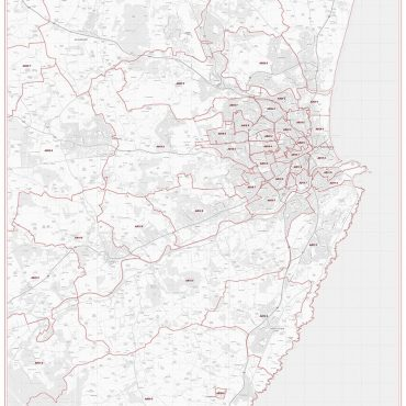 Postcode City Sector Map - Aberdeen - Greyscale - Overview
