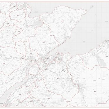 Postcode City Sector Map - Bangor - Greyscale - Overview