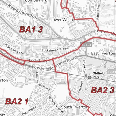 Postcode City Sector Map - Bath - Greyscale - Detail