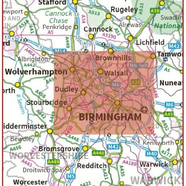 Postcode City Sector XL Map - Birmingham & Wolverhampton - Colour - Coverage