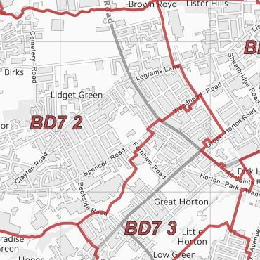 Postcode City Sector Map - Bradford - Greyscaele - Detail