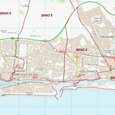 Postcode City Sector Map - Brighton & Hove - Colour - Detail