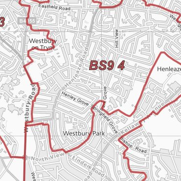 Postcode City Sector Map - Bristol - Greyscale - Detail