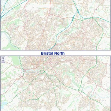 City Street Map - Bristol - Colour - Both Maps Overview