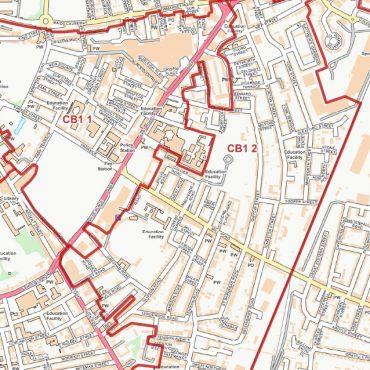 Postcode City Street Map - Central Cambridge - Colour - Detail