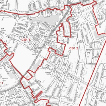 Postcode City Street Map - Central Cambridge - Greyscale - Detail