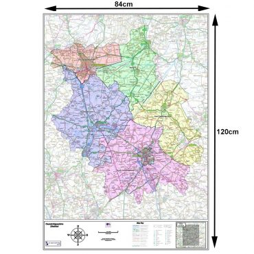 Cambridgeshire County Boundary Map - Dimensions