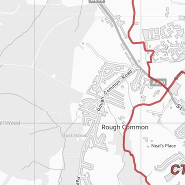 Postcode City Sector Map - Canterbury - Greyscale - Detail