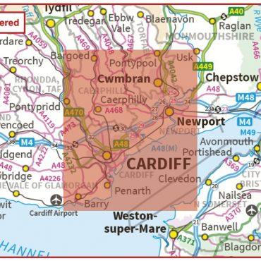 Postcode City Sector XL Map - Cardiff & Newport (Caerdydd & Casnewydd) - Colour - Coverage
