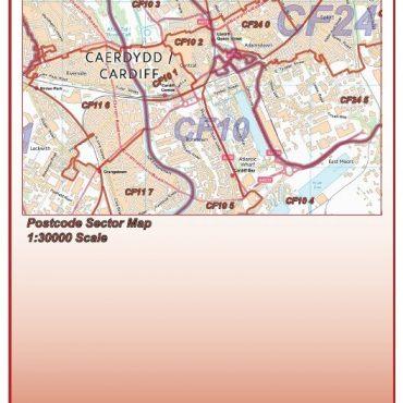 Postcode City Sector XL Map - Cardiff & Newport (Caerdydd & Casnewydd) - Colour - Folded Cover