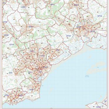 Postcode City Sector XL Map - Cardiff & Newport (Caerdydd & Casnewydd) - Colour - Overview