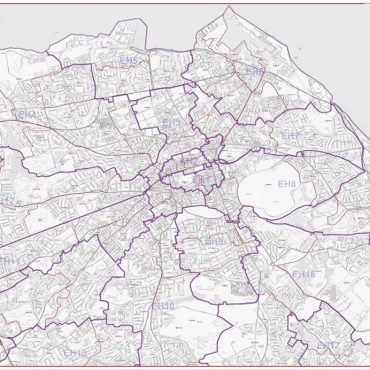 Postcode City Street Map - Central Edinburgh - Greyscale - Overview