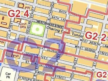 Postcode City Street Map - Central Glasgow - Colour - Detail