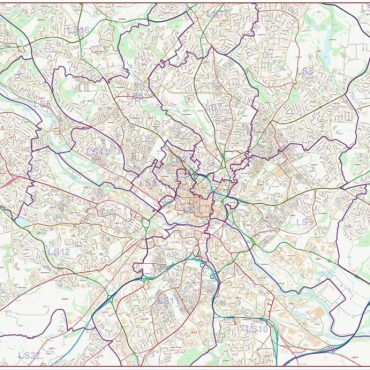 Postcode City Street Map - Leeds - Colour - Overview