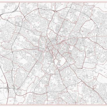 Postcode City Street Map - Central Leicester - Greyscale - Overview