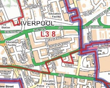 Postcode City Street Map - Central Liverpool - Colour - Detail
