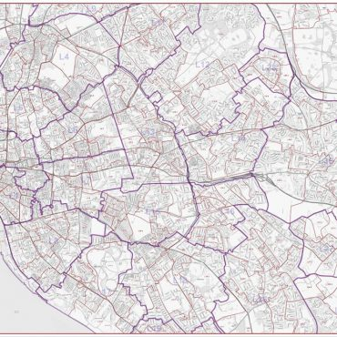 Postcode City Street Map - Central Liverpool - Greyscale - Overview