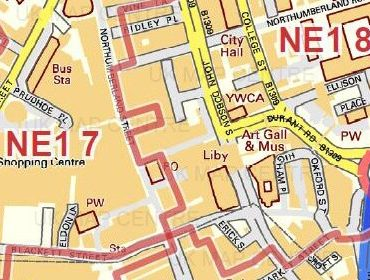 Postcode City Street Map - Central Newcastle - Colour - Detail