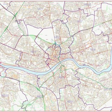 Postcode City Street Map - Central Newcastle - Colour - Overview
