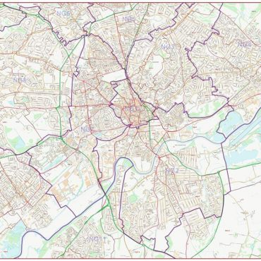Postcode City Street Map - Central Nottingham - Colour - Overview