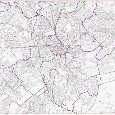 Postcode City Street Map - Central Nottingham - Greyscale - Overview