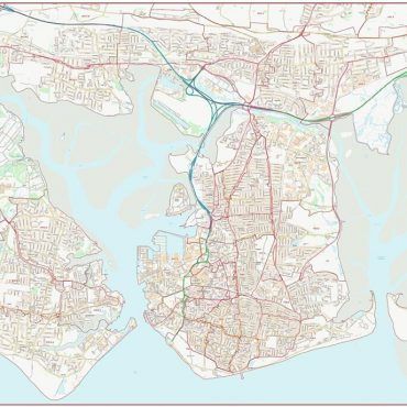 Postcode City Street Map - Central Portsmouth - Colour - Overview