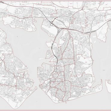 Postcode City Street Map - Central Portsmouth - Greyscale - Overview