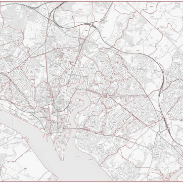 Postcode City Street Map - Central Southampton - Greyscale - Overview
