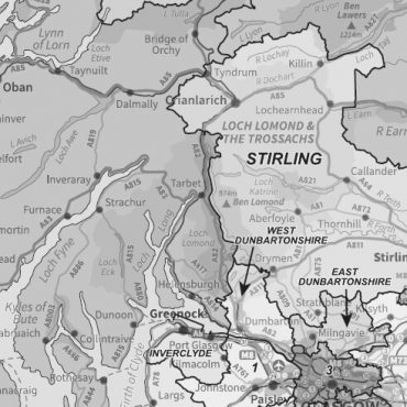 Compact Scotland Map - Admin Boundary Map - Greyscale - Detail