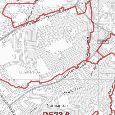 Postcode City Sector Map - Derby - Greyscale - Detail