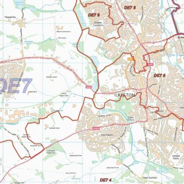 Postcode City Sector XL Map - Derby & Nottingham - Detail