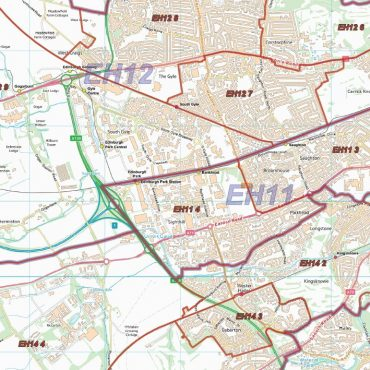 Postcode City Sector XL Map - Greater Edinburgh - Detail