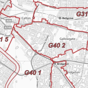 Postcode City Sector Map - Glasgow - Greyscale - Detail