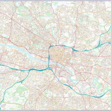 City Street Map - Central Glasgow - Colour - Overview