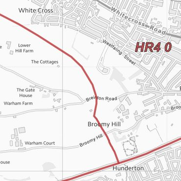 Postcode City Sector Map - Hereford - Greyscale - Detail