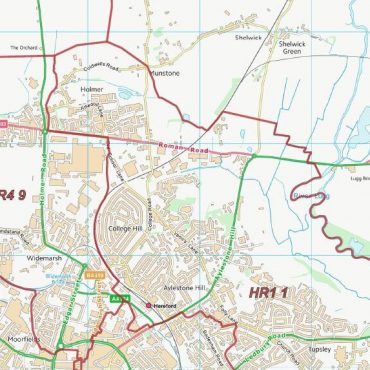 Postcode City Sector Map - Hereford - Colour - Detail