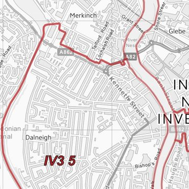 Postcode City Sector Map - Inverness - Greyscale - Detail