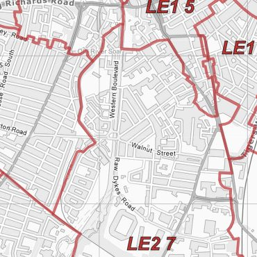 Postcode City Sector Map - Leicester - Greyscale - Detail
