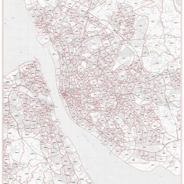 Postcode City Sector Map - Liverpool - Greyscale - Overview