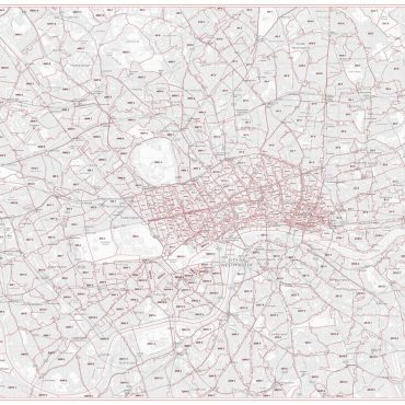 Postcode City Sector Map - London - Greyscale - Overview