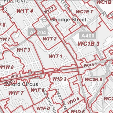 Postcode City Sector Map - London - Greyscale - Detail
