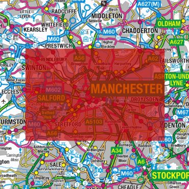 City Street Map - Central Manchester - Colour - Coverage