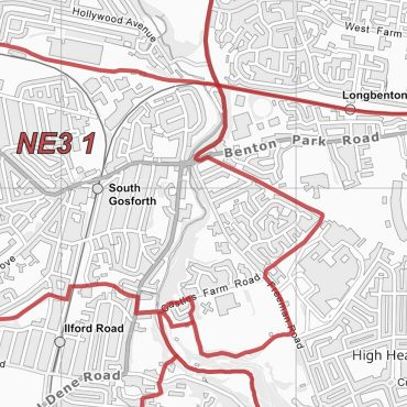 Postcode City Sector Map - Newcastle - Greyscale - Detail