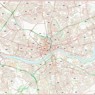 City Street Map - Central Newcastle - Colour - Postcode Overview