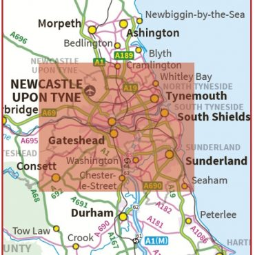 Postcode City Sector XL Map - Newcastle & Sunderland - Coverage