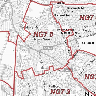 Postcode City Sector Map - Nottingham - Greyscale - Detail