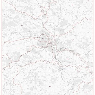 Postcode City Sector Map - Perth - Greyscale - Overview