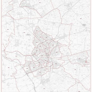 Postcode City Sector Map - Peterborough - Greyscale - Overview