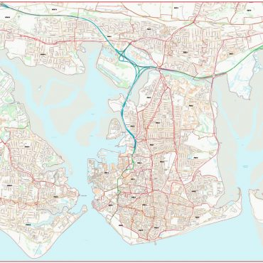 City Street Map - Central Portsmouth - Colour - Postcode Overview