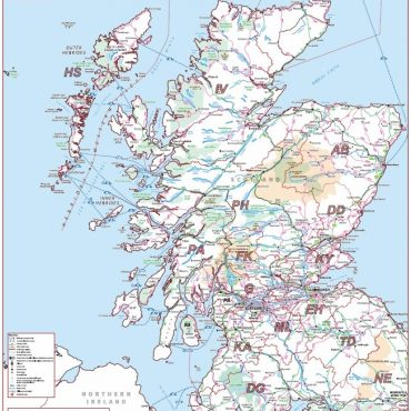 Postcode Area Map 2 - Scotland - Colour - Overview